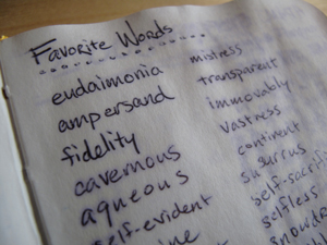 "list of words in a note; the heading at the top of the sheets reads ""Favorite Words"""