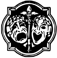A drawing of two masks crying and one is indicating comedy and humor. One is laughing.