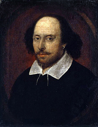 A painted portrait of William Shakespeare. He is a middle aged man wearing a dark garment that has a white collar.
