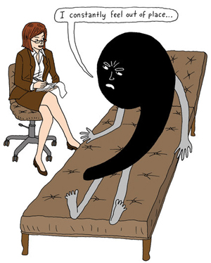 A cartoon of a comma on a therapist's couch. The comma is saying 'I onstantly feel out of place.'