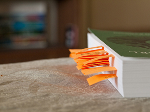 A closed book. There are dozens of sticky notes poking out from its pages.
