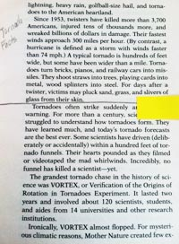 """Photo of a page in a book. One section has a line drawn underneath it and """"Tornado Facts"""" is handwritten in the left margin."""