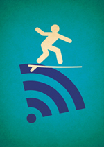 An icon showing a stick figure on a surfboard riding on the symbol for a wireless signal