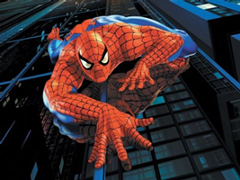 A photograph of the character Spider Man climbing up a building