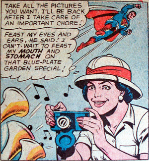 A Super Man comic that has a non sequitur in the dialogue.