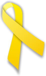 An image of a yellow ribbon that represents support of an organization such as the military.