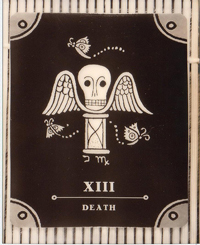 "An image of the ""death"" tarot card. It shows a winged skull surrounded by butterflies. With the Roman numeral for thirteen placed at the bottom."