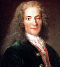 A painting/portrait of the French writer & philosopher Voltaire. He is wearing a long haired wig and formal clothing which were customary in the late 18th century.