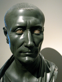 A photograph of a marble bust of Julius Caesar