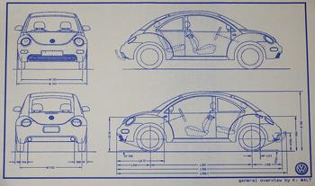 Image of Volkswagen Beetle blueprints