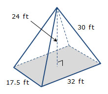 how to find the volume of a sqaure pyramid