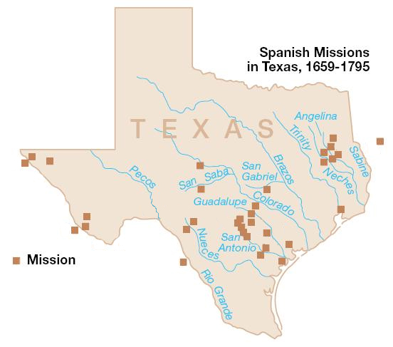Map Of Spanish Missions In Texas Untitled Document