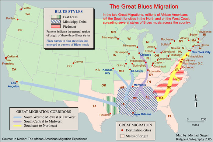 Image Of A Us Map That Indicates The Various Blues Styles Destination Cities States
