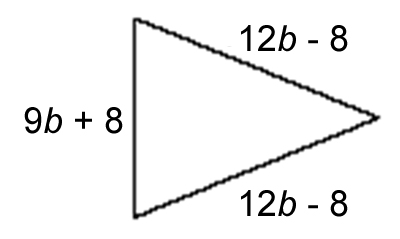 Isosceles triangle with base length of (9b + 8) and side lengths of (12b - 8)