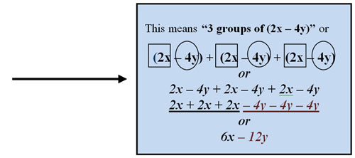 example of 3 groups of (2x - 4y)