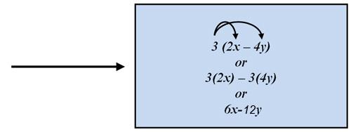 3(2x - y) or 3(2x) - 3(4y) or 6x-12y