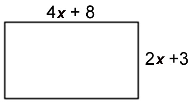 a rectangle with a width of (4x + 8) and length (2x+3)