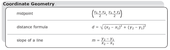 midpoint formula: the sum of x sub 1 and x sub 2 divided by 2,  the sum of y sub 1 y sub 2 divided by 2; distance formula: the square root of the difference of x sub 2 minus x sub 1 quantity squared plus the difference of y sub 2 minus y sub 2 quantity squared; slop of a line formula: the difference of y sub 2 minus y sub 1 divided by the difference of x sub 2 minus x sub 1