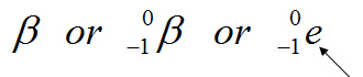 greek letter beta; or greek letter beta preceded by a superscript 0 and a subscript -1; or small letter e preceded by superscript 0 and subscript -1