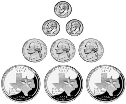 3 dimes, 3 nickels, 3 quarters