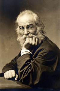 A sepia tone photo of Whitman looking at the camera with one hand under his chin and the other resting on a table. He has a long beard and mustache and big, light-colored eyes.