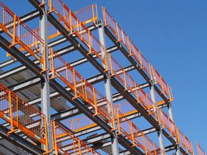 A photograph of a building frame constructed of steel beams