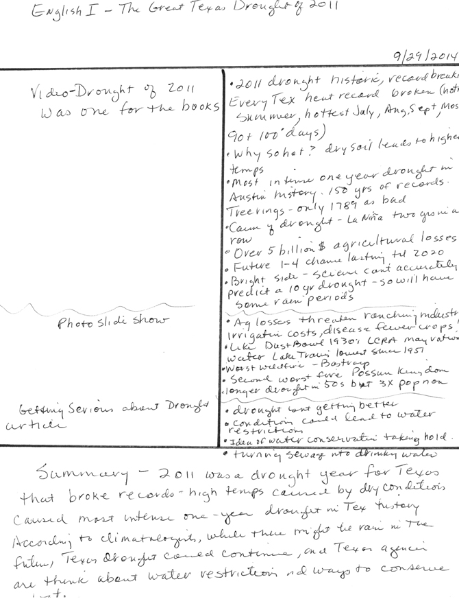 Handwritter notes written in Cornell Notes style on a piece of notebook paper