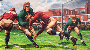 A mural showing players from the 1940s playing football, wearing leather helmets and heavy cleats