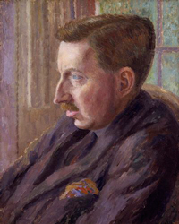 A portrait of the author E.M. Forster. He is a middle aged man and is shown wearing a suit and tie.