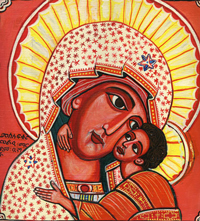 A Byzantine type religious icon painting of a sainted mother and child