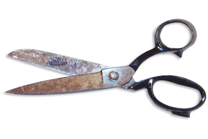 A photograph of a pair of scissors.