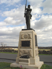 A photograph of a monument at the Gettysburg National Park. It shows a Civil War era soldier with his rifle raised.