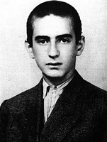 Elie Wiesel as a young man in a black and white photo.