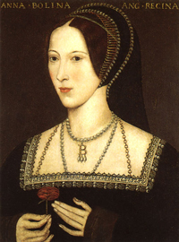 A painting portrait of Queen Anne Boleyn of England