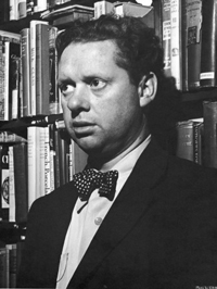 A photograph of Welsh poet Dylan Thomas. He is a man in his 30s wearing a jacket and bow tie.