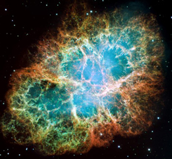 A rich blue, green, and orange splash of color in the stars.