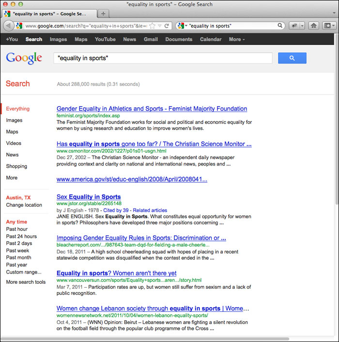 """screenshot of results returned for a search on """"equality in sports"""" in Google"""