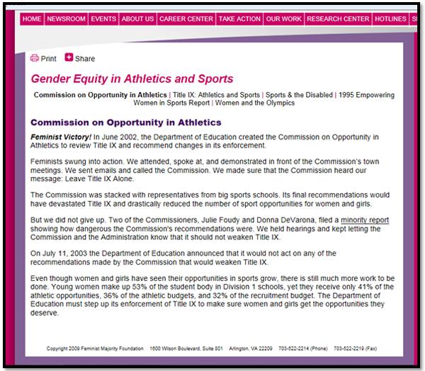 screenshot of Feminist Majority Foundation web site