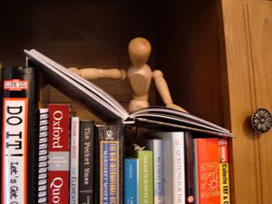 A close-up image of a bookshelf. A wooden artist's mannequin stands behind the books, holding open one book as if reading it.