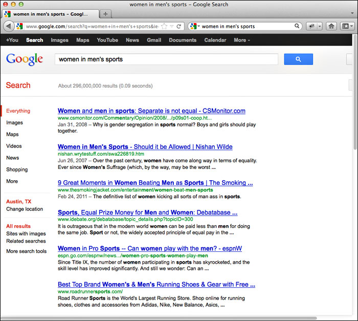 """screenshot of search results pertaining to """"women in men's sports"""" using Google's search engine"""