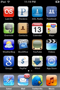 A screen shot of a smart phone screen showing multiple apps