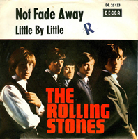 """A Photograph of the Rolling Stones record sleeve """"Not Fade Away and Little by Little"""" It shows the five members of the group standing together looking at the camera"""