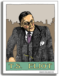 A drawing of the writer T.S. Eliot. He is wearing glasses, and a three piece suit.