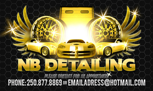 An image of a business card for NB Detailing. It features three sports cars and a set of rims flanked by wings. At the bottom are the business phone number and e-mail.