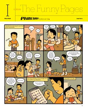 """This comic strip shows a brother who follows his baby sister with a tablet and records each """"ga"""" she says. Each number of ga's turns out to be a prime number. Her brother concludes that she is an alien using flawed inductive reasoning."""