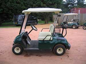 image of a green golf cart