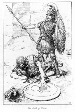 Engraving showing Achilles and Hector