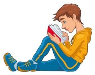 A teenage boy reading