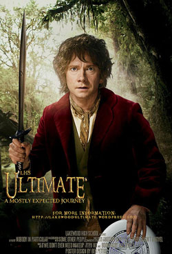 Image of movie poster for The Hobbit with main character Bilbo holding a frisbee