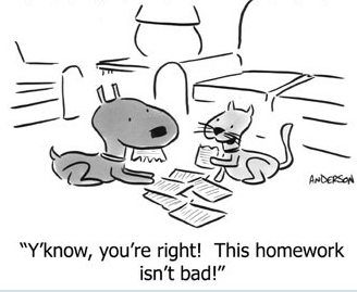 "cartoon with dog and cat eating paper. The cat says to the dog, ""Y'know, you're right. This homework isn't bad!"""